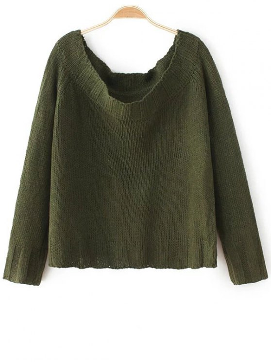 Off The Shoulder Cropped Sweater - ARMY GREEN ONE SIZE Mobile