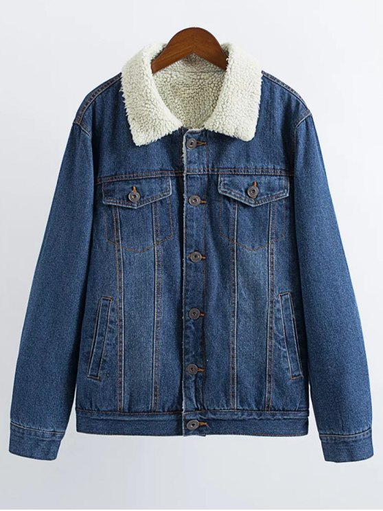 women's Lamb Wool Denim Jacket - DEEP BLUE L