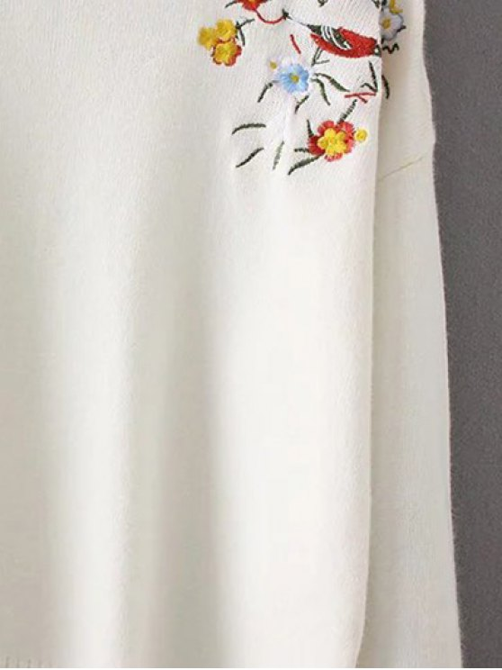 Embroidered Loose High-Low Sweater - WHITE ONE SIZE Mobile