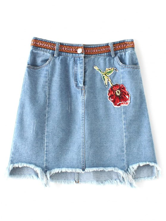 asymmetric floral denim skirt light blue skirts s zaful