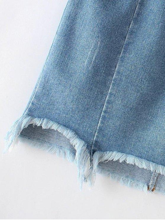 Asymmetric Floral Denim Skirt - LIGHT BLUE M Mobile
