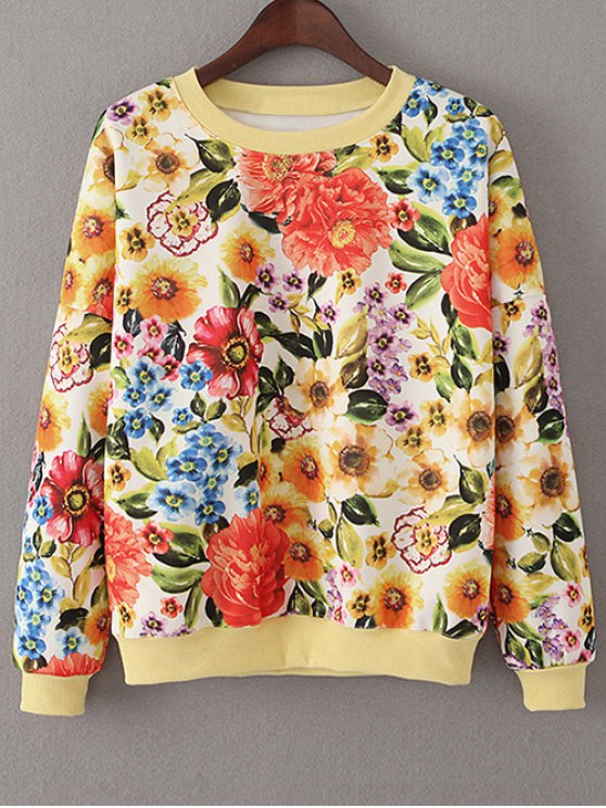 Sweat-shirt Floral du raisin - Tangerine S