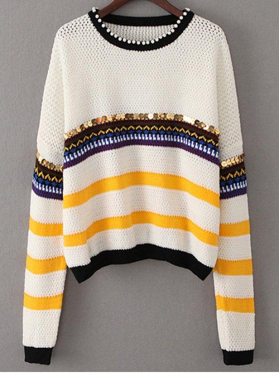 Lentejuelas rebordear suéter - Blanco Única Talla