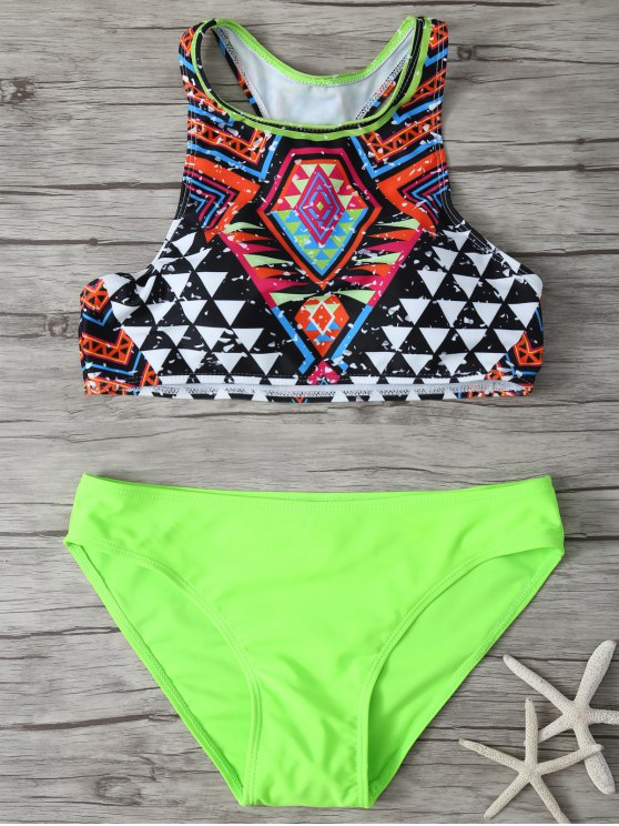 Impresa cuello redondo Set Bikini - Multicolor S