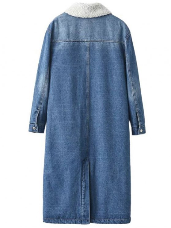 Borg Lined Denim Coat - DENIM BLUE L Mobile