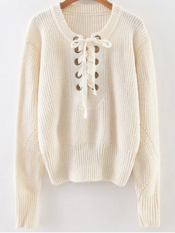 chic Crew Neck Lace Up Ribbed Jumper - WHITE ONE SIZE