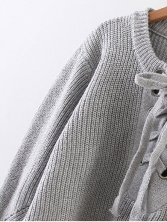 Crew Neck Lace Up Ribbed Jumper - GRAY ONE SIZE Mobile