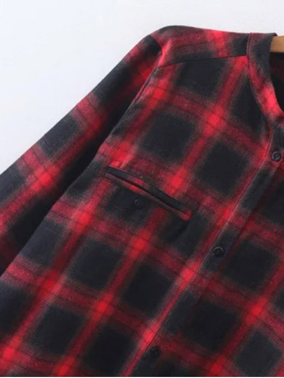 Checked Long Sleeves Flannel Shirt Dress - MULTICOLOR M Mobile
