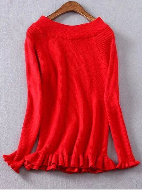 Ribbed Boat Neck Frilled Jumper - RED 2XL Mobile