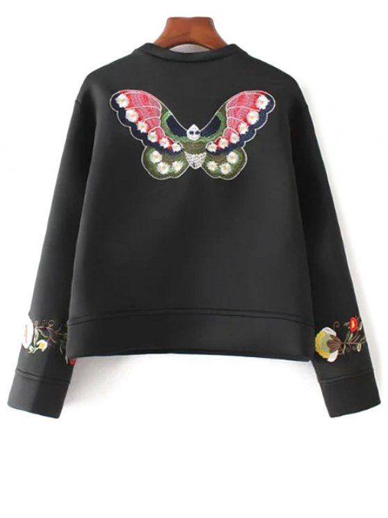 Floral Embroidered Boxy Sweatshirt - BLACK L Mobile