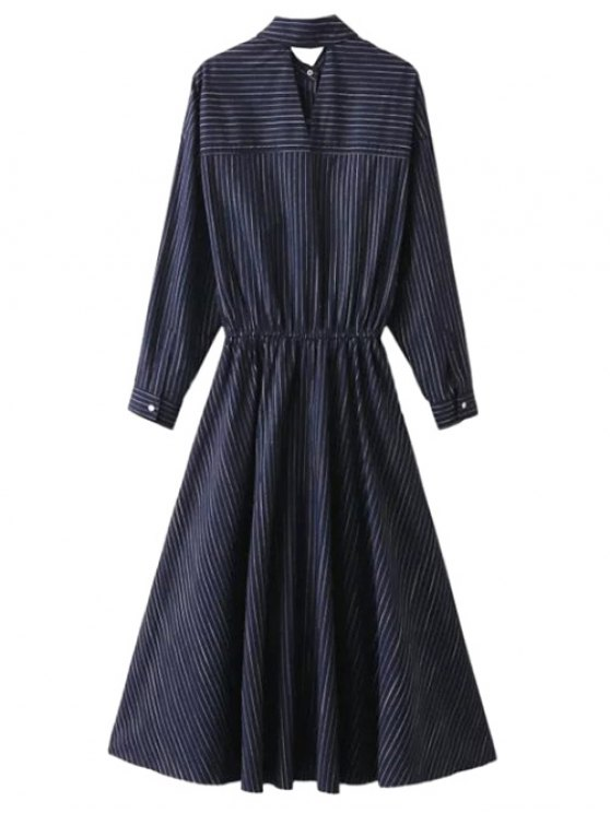 Striped Cutout Single-Breasted Maxi Dress - PURPLISH BLUE L Mobile