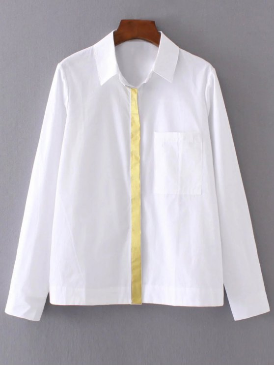 Color Block Boyfriend Pocket Shirt - WHITE M Mobile