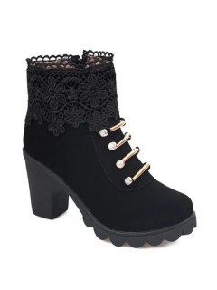 Metal Embroidery Zipper Ankle Boots - Black 38