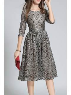 Half Sleeve Sequined Lace A Line Dress - Deep Gray S