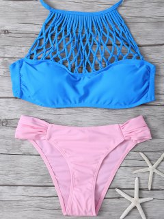 Halter Padded Hollow Out Bikini - Blue And Pink S