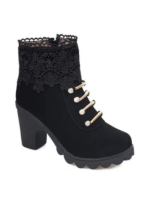 women Metal Embroidery Zipper Ankle Boots - BLACK 40 Mobile