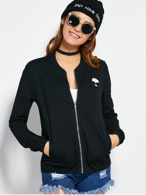 womens Zip Up Alien Sweatshirt Jacket - BLACK M Mobile