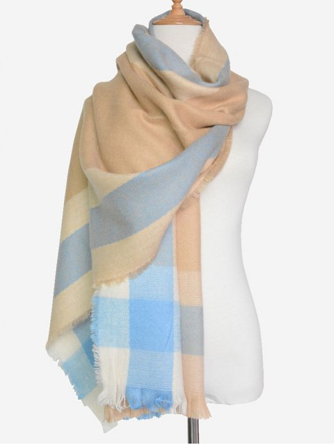 fancy Check Pattern Fringed Scarf -   Mobile