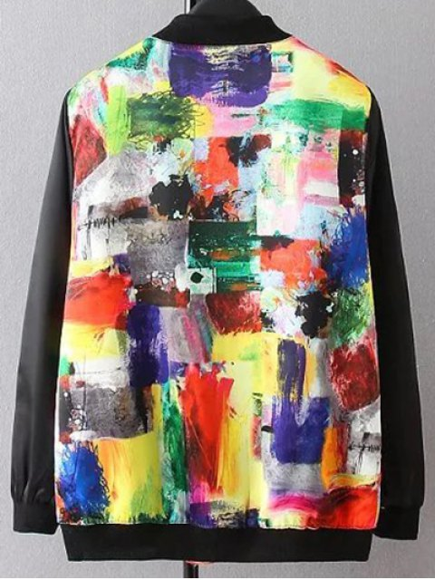 chic Scrawl Pattern Bomber Jacket - COLORMIX 3XL Mobile