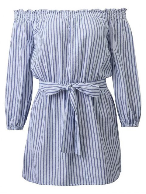 lady Striped Off Shoulder Belted Dress - BLUE AND WHITE S Mobile