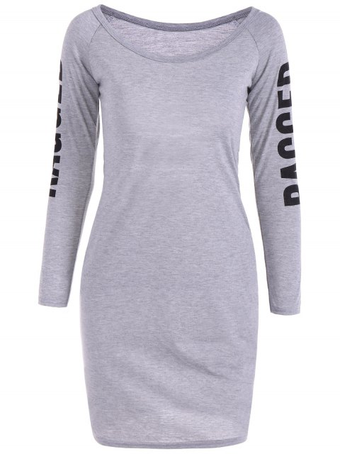 buy Back Cutout Graphic Bodycon Dress - GRAY S Mobile
