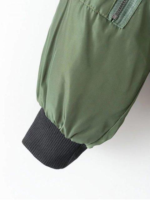 unique Crane Embroidered Zippered Souvenir Jacket - GREEN M Mobile