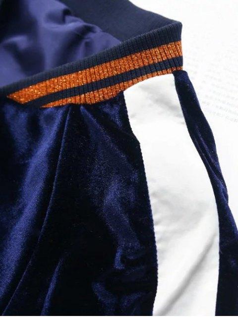 outfit Velvet Floral Embroidered Jacket - PURPLISH BLUE L Mobile