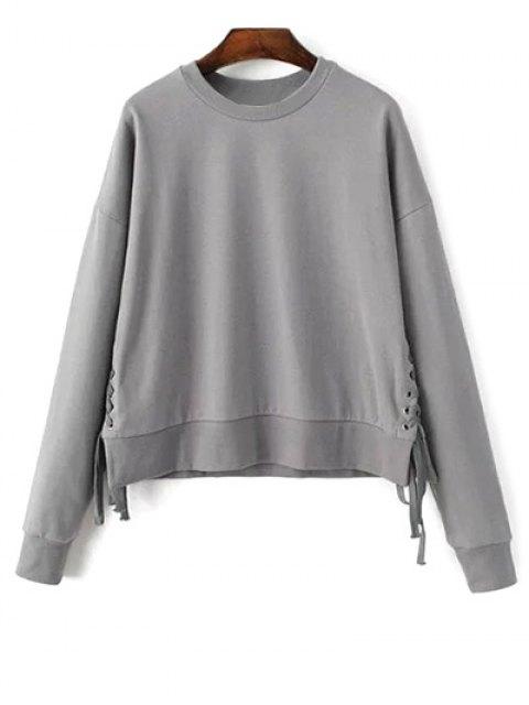 fancy Lace Up Jewel Neck Sweatshirt - GRAY ONE SIZE Mobile