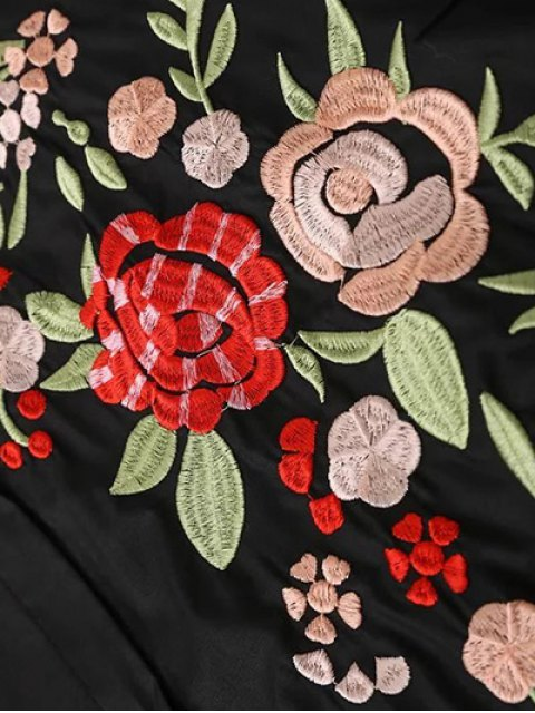 new Flower Embroidered Shirt Dress - BLACK S Mobile