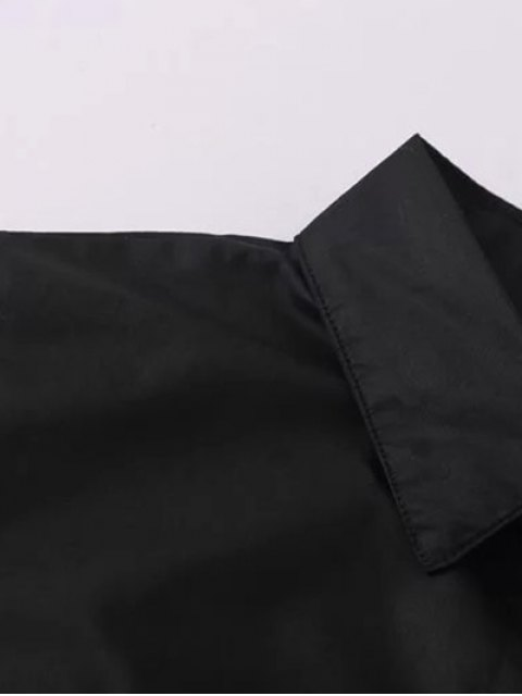 online Flower Embroidered Shirt Dress - BLACK M Mobile