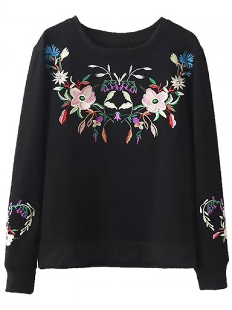 ladies Fleeced Floral Embroidered Sweatshirt - BLACK L Mobile