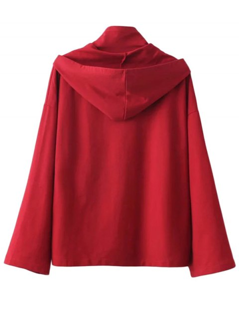 best Lace Up High Neck Hoodie - RED M Mobile