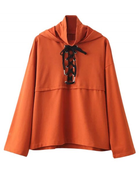 hot Lace Up High Neck Hoodie - ORANGE L Mobile