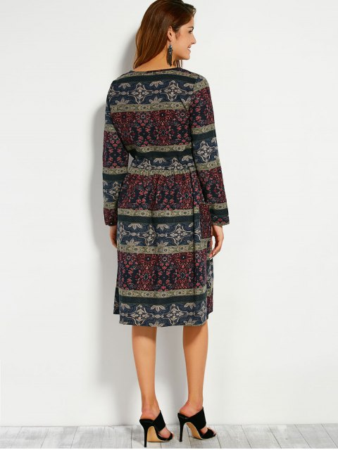 new Retro Print V Neck Long Sleeve A Line Dress - COLORMIX XL Mobile