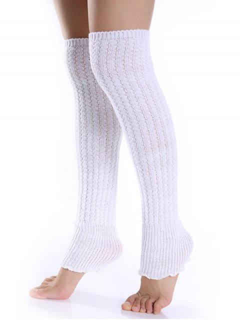 unique Cable Knitted Leg Warmers - WHITE  Mobile