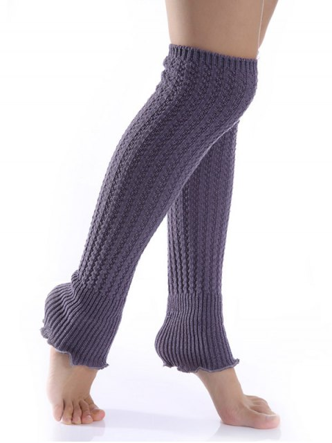 chic Cable Knitted Leg Warmers - DEEP GRAY  Mobile