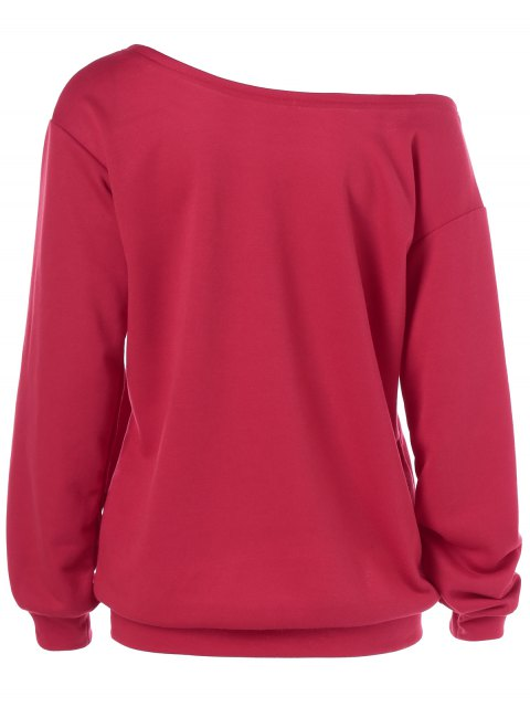 new Skew Collar Love Pattern Sweatshirt - RED XL Mobile