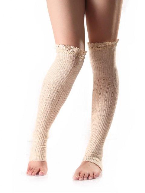 Chaussettess au jambe tricotées avec bordure en dentelle - Blanc  Mobile