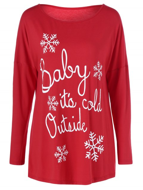 buy Snowflake Printed Funny Tee - RED M Mobile