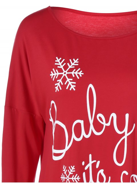 women Snowflake Printed Funny Tee - RED XL Mobile