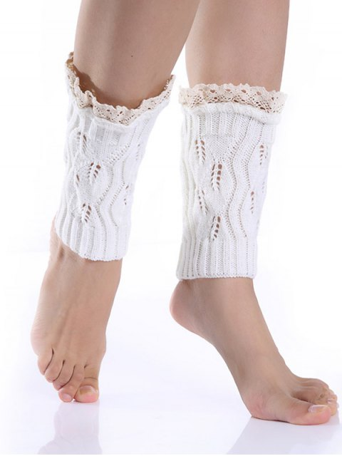 ladies Lace Edge Knitted Boot Cuffs - WHITE  Mobile