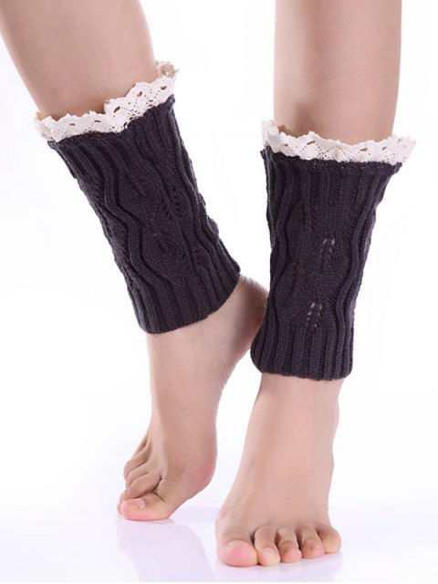 lady Lace Edge Knitted Boot Cuffs - DEEP GRAY  Mobile