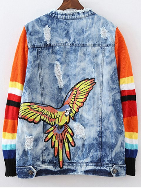 ladies Denim Splicing Ripped Patched Jacket - BLUE L Mobile