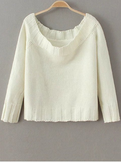 sale Off The Shoulder Cropped Sweater - WHITE ONE SIZE Mobile
