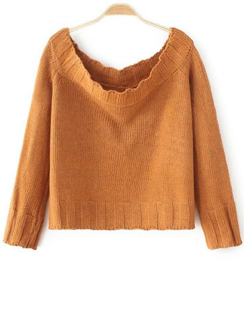 buy Off The Shoulder Cropped Sweater - YELLOW ONE SIZE Mobile