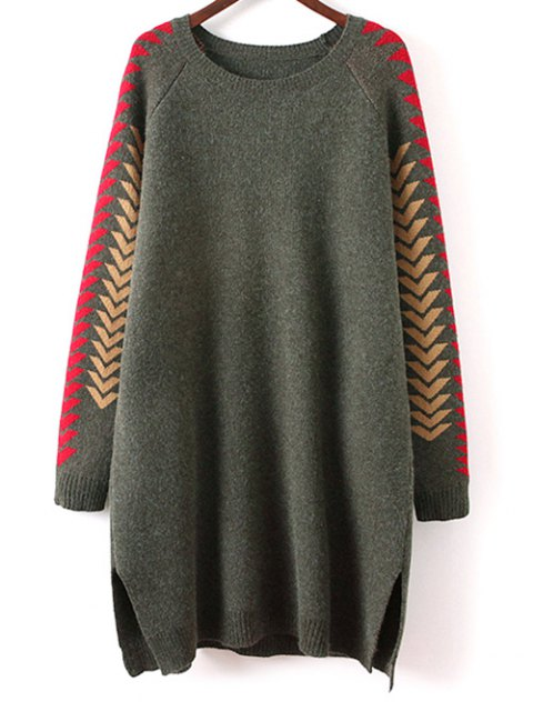 lady Geometric Slit Sweater Dress - GREEN ONE SIZE Mobile