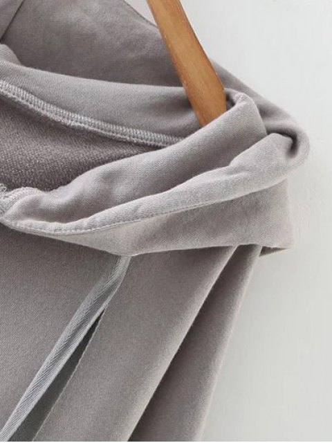 fashion Slouchy Zip Up Oversized Hoodie - GRAY ONE SIZE Mobile