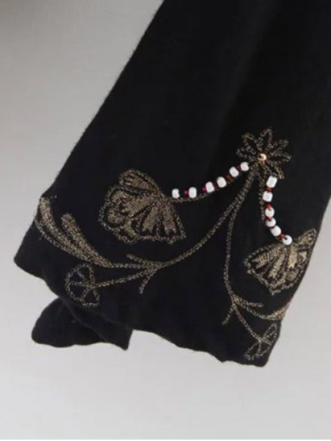 affordable Embroidered Beading Flowy Blouse - BLACK S Mobile