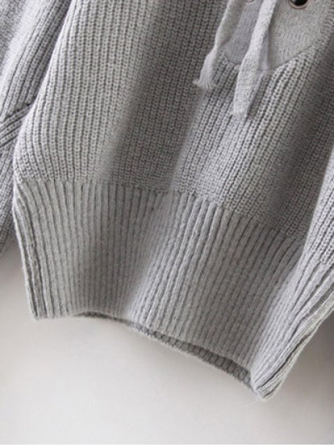 fancy Crew Neck Lace Up Ribbed Jumper - GRAY ONE SIZE Mobile