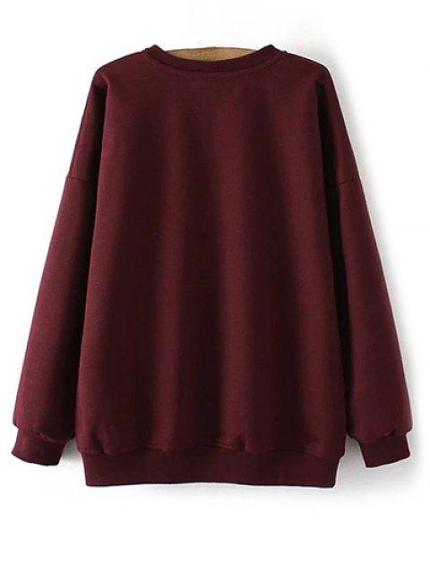 shop Eye Embroidered Crew Neck Sweatshirt - WINE RED XL Mobile